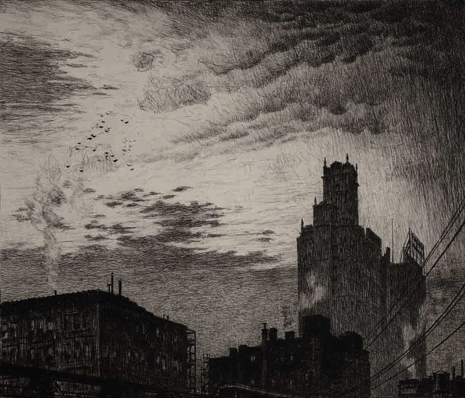 Martin Lewis Skyline New York Etching Allinson
